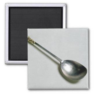 Silver apostle spoon with gold seal top, 1668 square magnet
