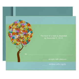 Silver Aqua Blue Flower Love Tree Wedding Invite