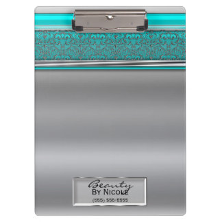 Silver Aqua Shine Elegant Chic Glam Personalized Clipboard