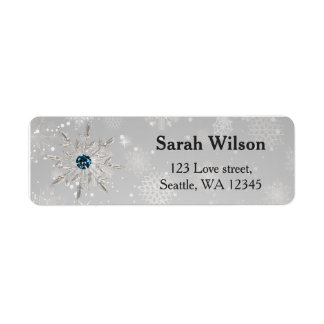 silver aqua snowflakes bridal shower address label