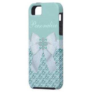 Silver & Aquamarine Jewels iPhone 5 Case