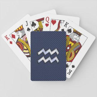 Silver Aquarius Sign on Navy Blue Carbon Fiber Art Poker Deck