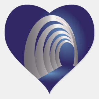 silver arcade tunnel heart sticker