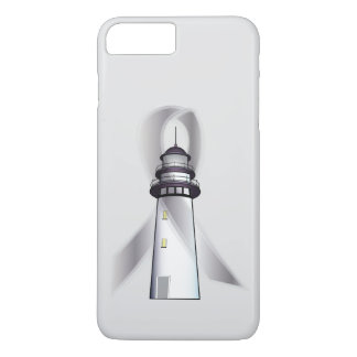 Silver Awareness Ribbon with Lighthouse of Hope iPhone 7 Plus Case