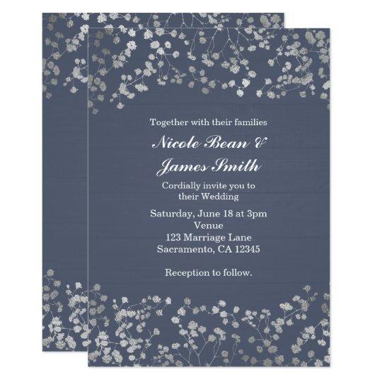 Silver Baby's Breath Blue Wood Wedding Invitation