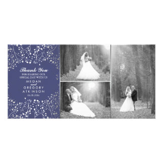 Silver Baby's Breath Navy Wedding Photo Thank You Card