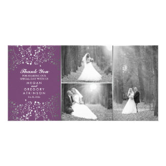 Silver Baby's Breath Wedding Photo Thank You Card