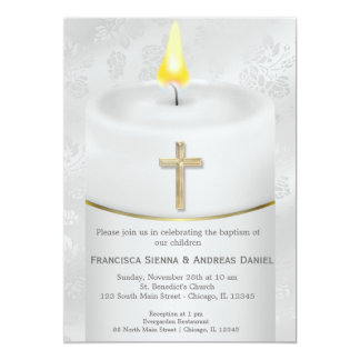 Silver Baptism Candle Card