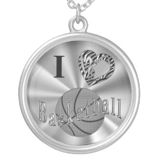 Silver Basketball Necklaces for Girls Animal Print