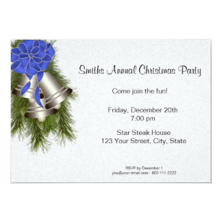 Silver Bells Christmas Party Invitations