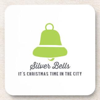 Silver Bells | Green Beverage Coasters