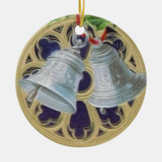 Silver Bells, Holly and Stained Glass Personalized Ceramic Ornament