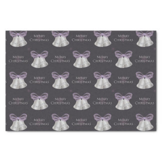 Silver Bells & Purple Bow Merry Christmas Tissue Paper