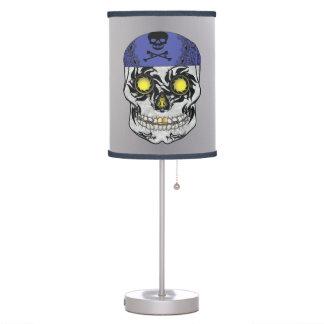 Silver Biker Candy Skull Lamp
