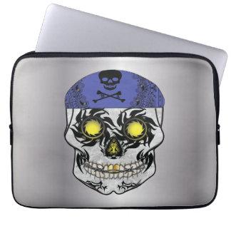 Silver Biker Candy Skull Laptop Sleeve