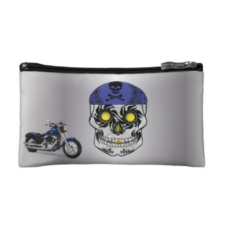 Silver Biker Candy Skull Makeup Bag
