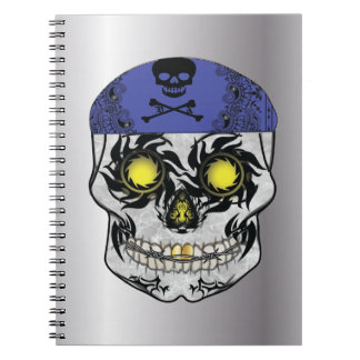 Silver Biker Candy Skull Notebook