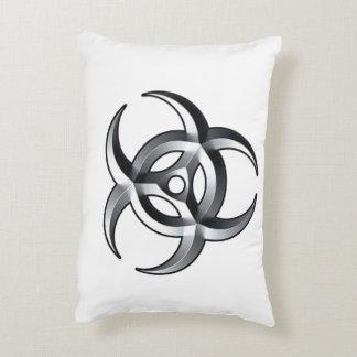 silver biohazard accent pillow
