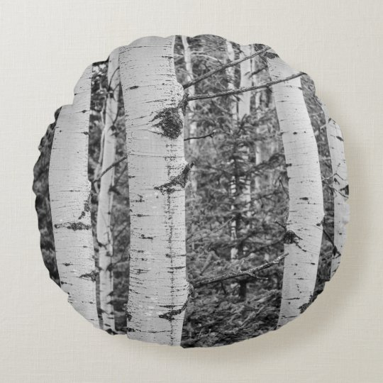 Silver Birch Tree Bark Round Pillow