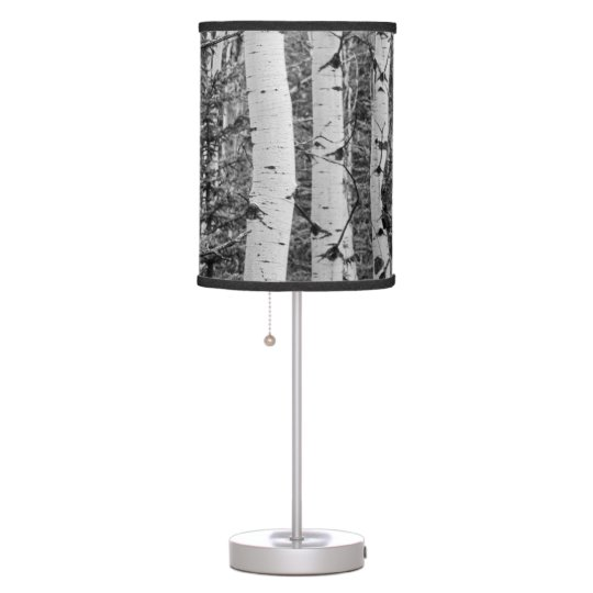 Silver Birch Tree Trunk Black and White Design Table Lamp