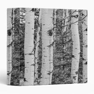 Silver Birch Tree Trunk Black and White Design Vinyl Binders