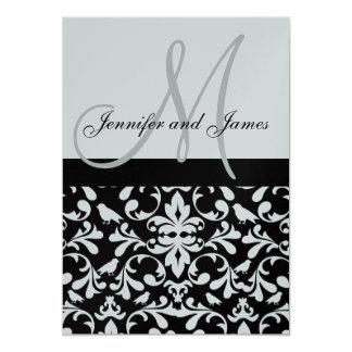 Silver Bird Damask Wedding Invitation Monogram