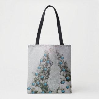 Silver Bird Snowy Tree Tote Bag