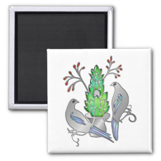 Silver Birds with Opal Wings in Jade and Ruby Tree Square Magnet