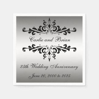 Silver Black 25th Wedding Anniversary Paper Napkin
