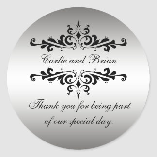 Silver Black 25th Wedding Anniversary Sticker