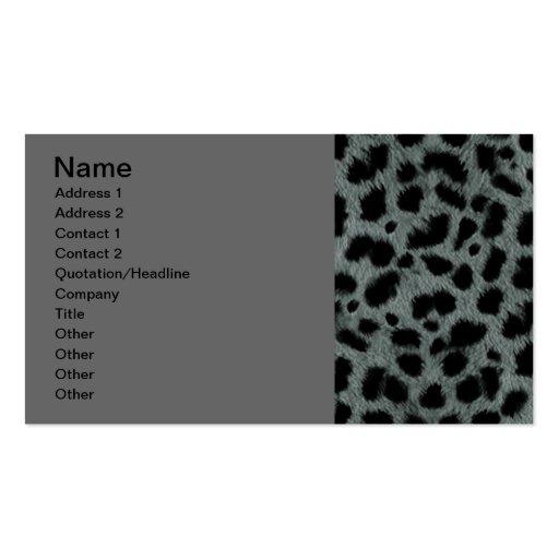 SILVER BLACK ANIMAL PRINT PATTERN DIGITAL ART WALL BUSINESS CARD TEMPLATE