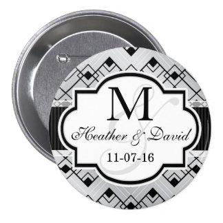 Silver & Black Art Deco Wedding Button