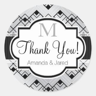 Silver & Black Art Deco Wedding Round Sticker