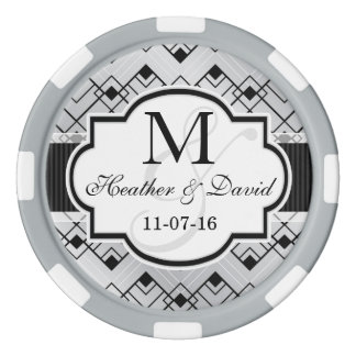 Silver & Black Art Deco Wedding Set Of Poker Chips