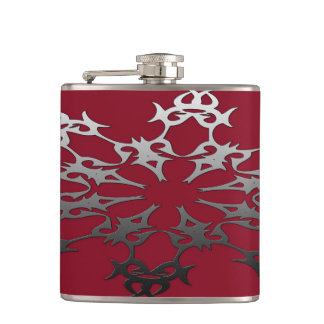 Silver Black Brick Ethnic Abstract Hip Flask