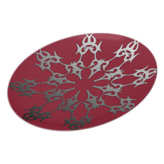Silver Black Brick Ethnic Abstract Plate