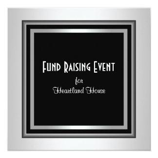 """Silver Black Corporate Black Tie Fundraising 5.25"""" Square Invitation Card"""