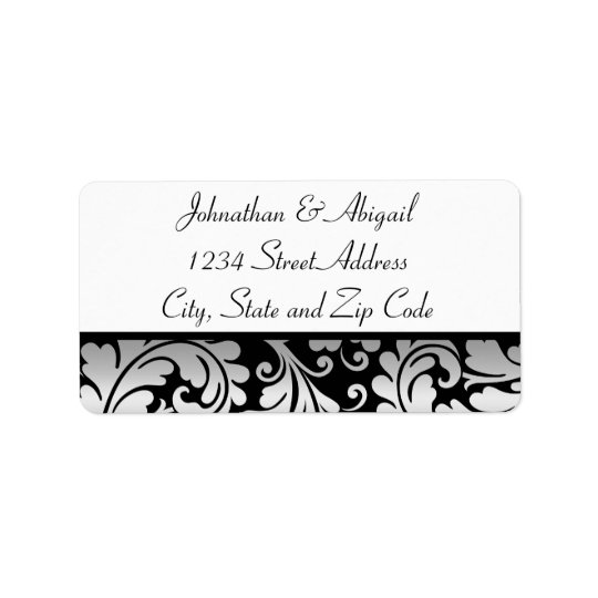 Silver Black Damask Pattern Label