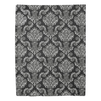 Silver & Black Damask Pattern{pick your color} Duvet Cover