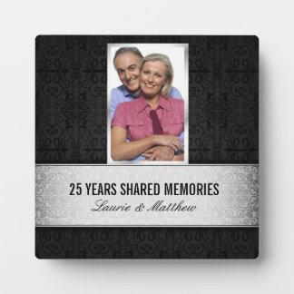 Silver Black Damask Photo Frame 25th Anniversary