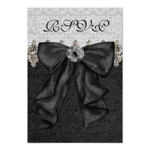 Silver Black Damask RSVP Personalized Invite