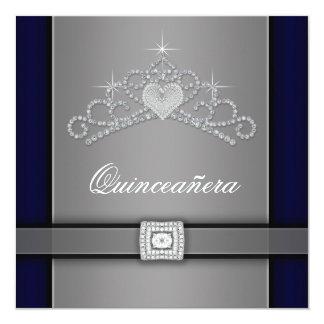 """Silver Black Diamond Heart Tiara Quinceanera 5.25"""" Square Invitation Card"""