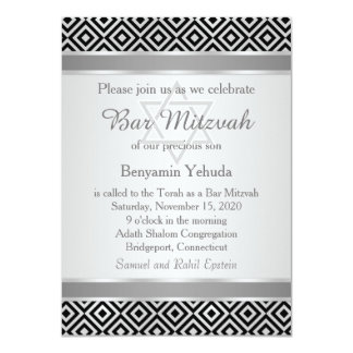 Silver black diamond pattern Bar Mitzvah Invite