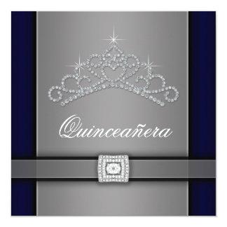 """Silver Black Diamond Tiara Quinceanera 5.25"""" Square Invitation Card"""