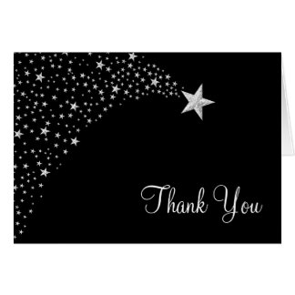 Silver Black Falling Stars Thank You Card