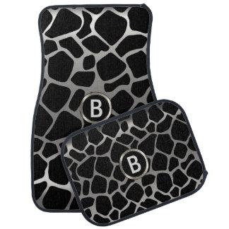 Silver & Black Giraffe Animal Pattern   Monogram Car Mat