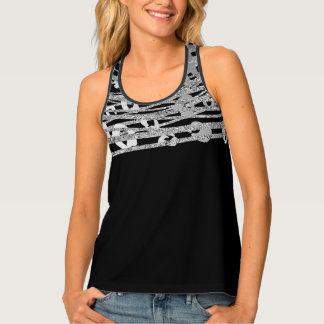 Silver & Black Leopard Cheetah Print Pattern Glam Tank Top