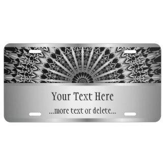 Silver Black Mandala License Plate