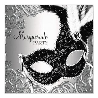 """Silver Black Mask Masquerade Party 5.25"""" Square Invitation Card"""