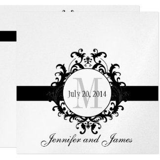 Silver Black Monogram Save the Date Wedding Card
